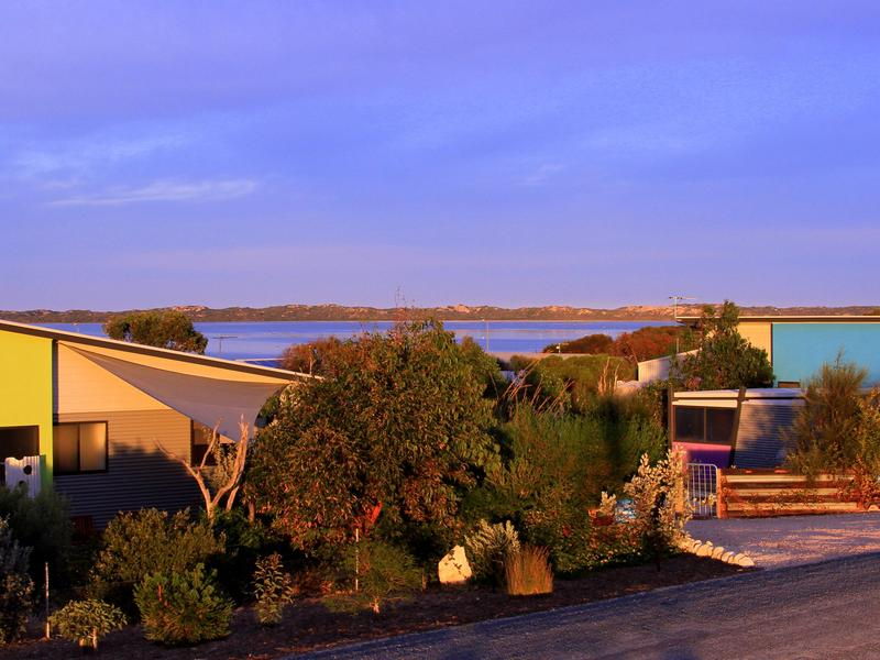 The cabins overlooking the Coorong